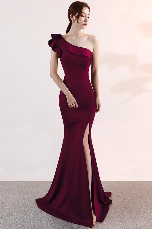 Dark Red One Shoulder Evening Gown in 2019 | Dresses