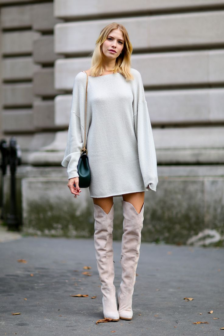Elena Perminova in Chloe sweater dress, over the knee boots | Paris Fashion Week SS15 Street Style: