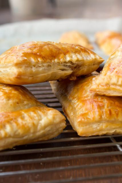 Cheddar and caramelized onion puff pastry pies