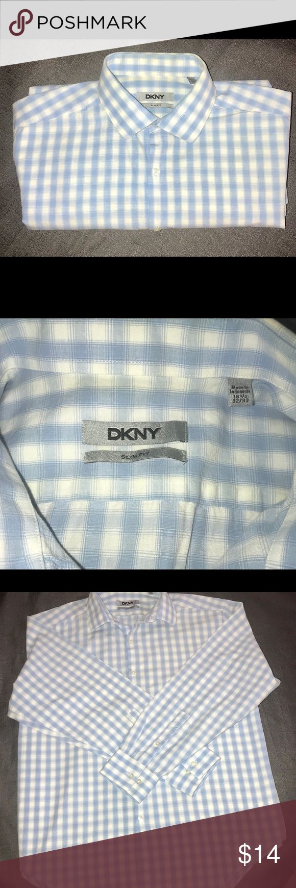 DKNY Mens Long Sleeve Button Down Shirt Blue and White plaid shirt in excellent condition Dkny Shirts Casual Button Down Shirts