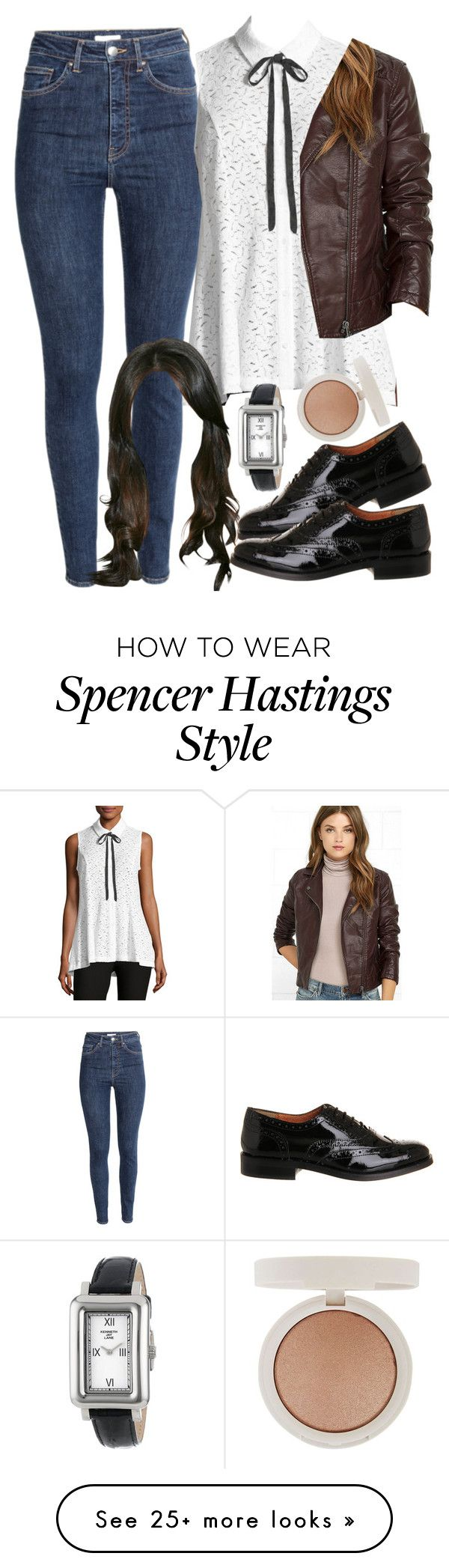 """""""Spencer Hastings inspired outfit with a leather jacket"""" by liarsstyle on Polyvore featuring 5twelve, BB Dakota, Topshop, Office, Kenneth Jay Lane, school, Work, college and WF"""