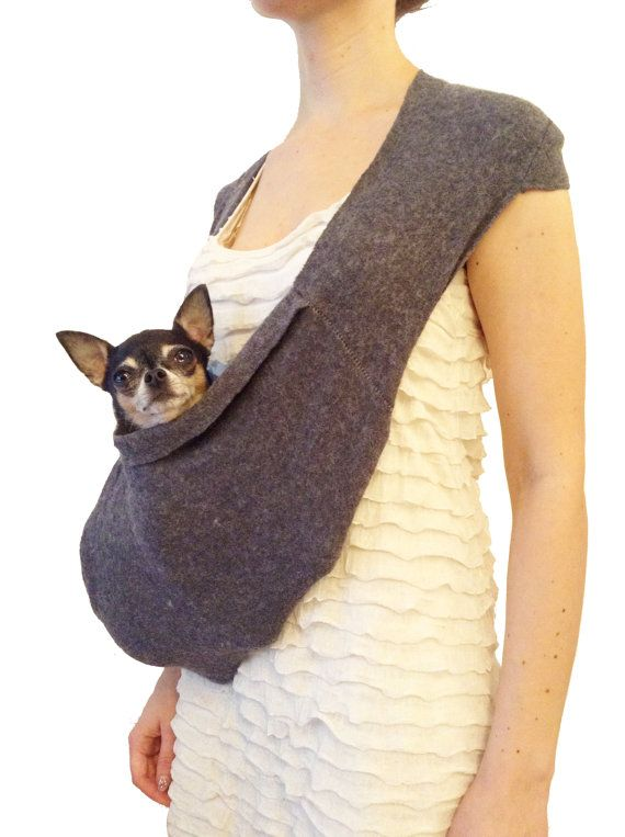 Pet Travel Bag Grey Scarf Sling Carrier Small Dog Tote By HeartPup On Etsy