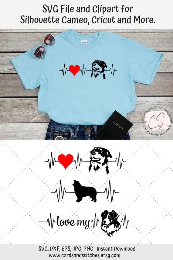 Australian Shepherd Heartbeat Svg And Clipart Great For Silhouette And Cricut Machines Graphic Design Svg File Dxf Jpg Eps Png Clip Art Cricut Australian Shepherd