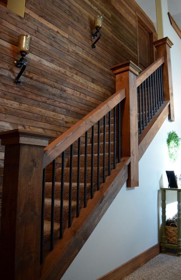 Rebar staircase unique farmhouse industrial rustic lighting wood plank wall