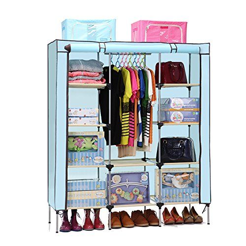 Aojia Canvas Wardrobe Clothes Hanging Rail Cupboard