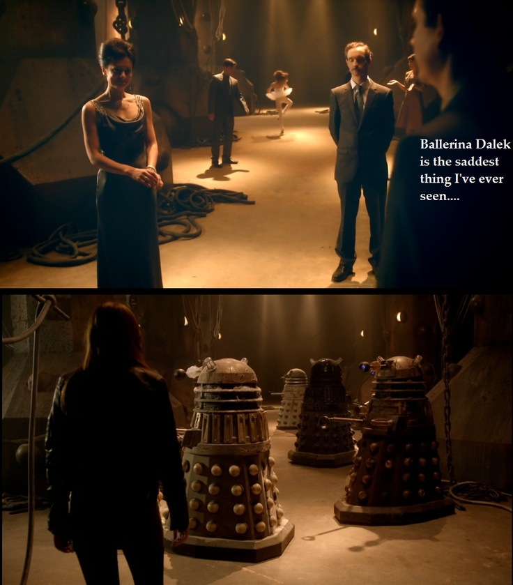I believe Amy was seeing the faulty Daleks as they saw themselves. They were all insane in some way or another, and she was tapped in because of the nanocloud. It was another hint for us about Oswin, too. But Ballerina Dalek was seriously the saddest of all of them. Maybe she was Hannah, woman-puppet's daughter, with her red hair and pink frills…