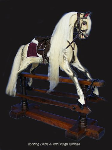 Antique English rocking horse , (ref.2016) Dated circa 1920, restored,  made by F.H. Ayres