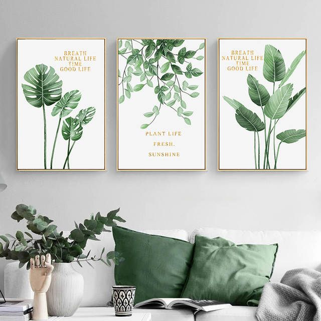 Online Shop Green Plant Home Decoration Wall Art Canvas Painting Monstera Leaf Nordic Posters A Wall Canvas Painting Wall Art Canvas Painting Modern Wall Paint Painting for living room ideas