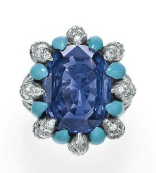 A SAPPHIRE, DIAMOND AND TURQUOISE RING, BY VERDURA