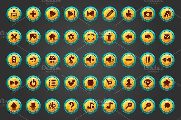 Big set of vector button for game.. UI Elements