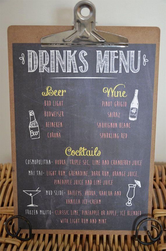 Wedding Chalkboard Drinks Menu by WanderlustWeddings on Etsy, $15.00
