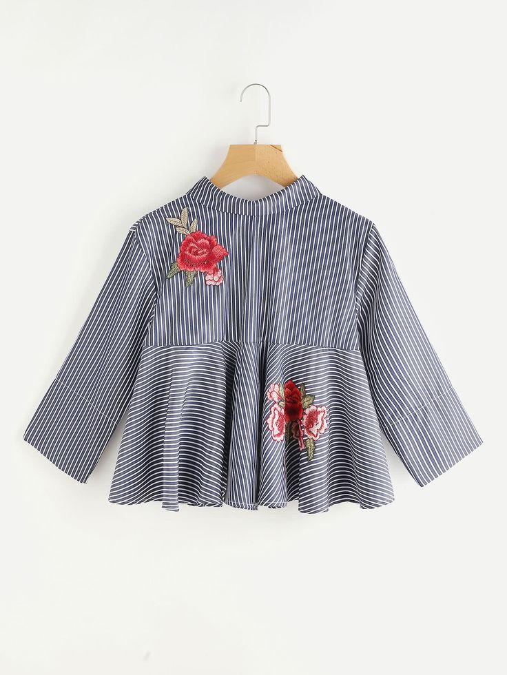 Shop Embroidered Appliques Striped Bow Tie Neck Smock Top online. SheIn offers Embroidered Appliques Striped Bow Tie Neck Smock Top & more to fit your fashionable needs.