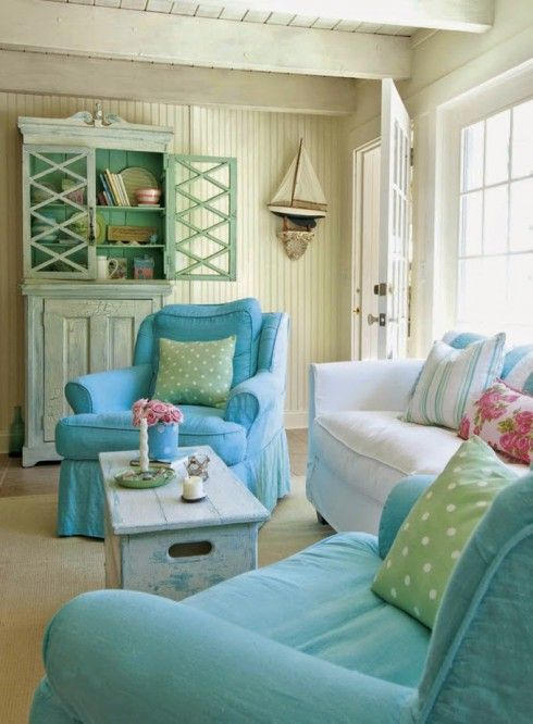 Beach colors with a touch of fretwork to liven up the hutch cabinet.  We could use the O'verlays Diamond pattern to create that look.