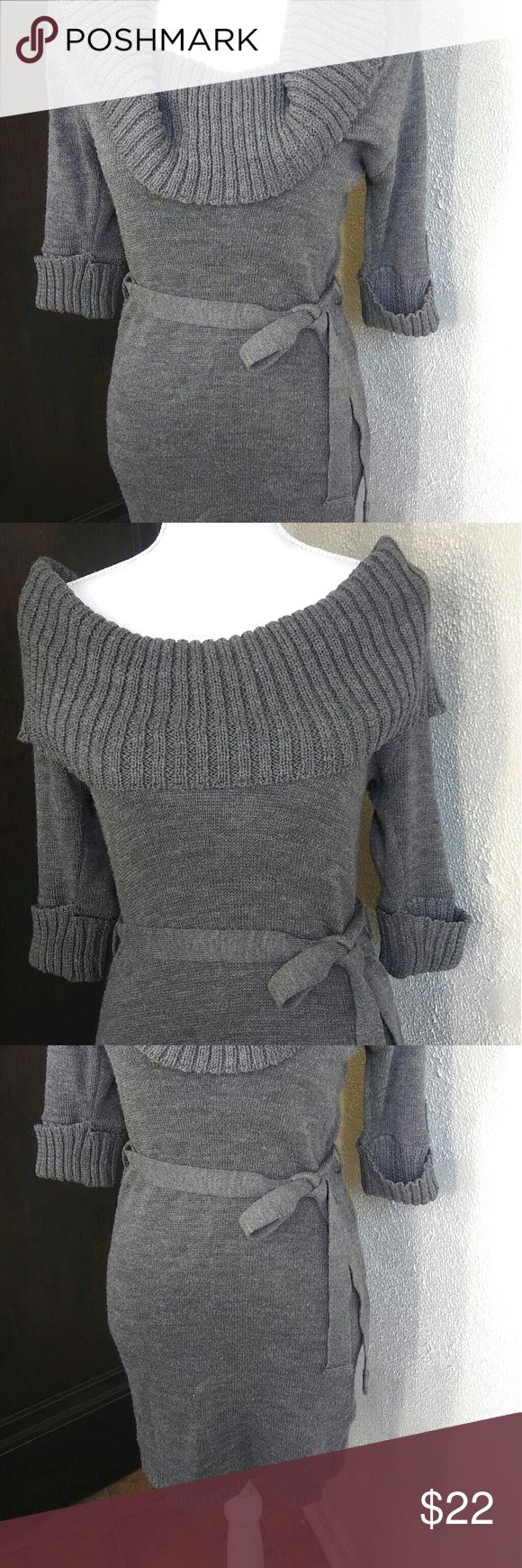 Forever 21 XX1 Cowl Neck Sweater Dress *EUC* Forever 21 XX1 Gray Cowl Neck Sweater Dress. Worn a few times, in very good condition. Cowl neck can be worn off the shoulder or draped in front. Little belt accentuates waist !! Forever 21 Dresses Midi