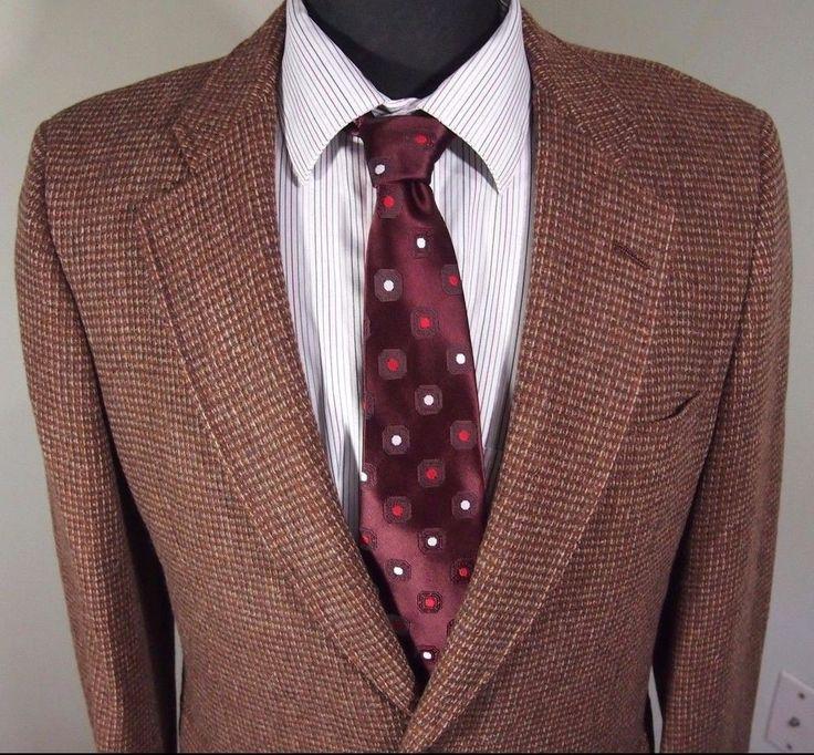 MINT DIOR SPORT Mens tweed orange red wool Sport Coat Blazer 39R 39 regular R #DiorSport #TwoButton