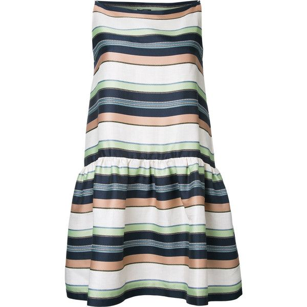 Jil Sander Navy striped dress ($305) ❤ liked on Polyvore featuring dresses, blue, multi colored dress, multicolored dress, striped dresses, blue dress and multi color striped dress
