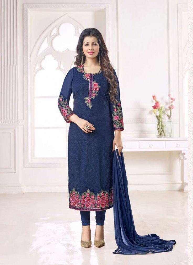 Ayesha Takia Navy Blue Embroidered Churidar Salwar Kameez