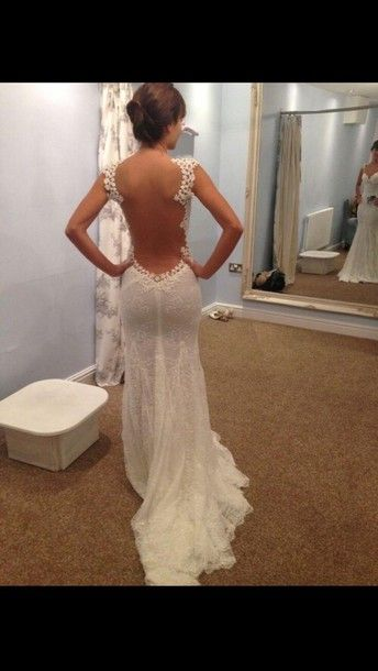 WHAT A BACK! ..dress long prom dress white laced dress open back elegant dress