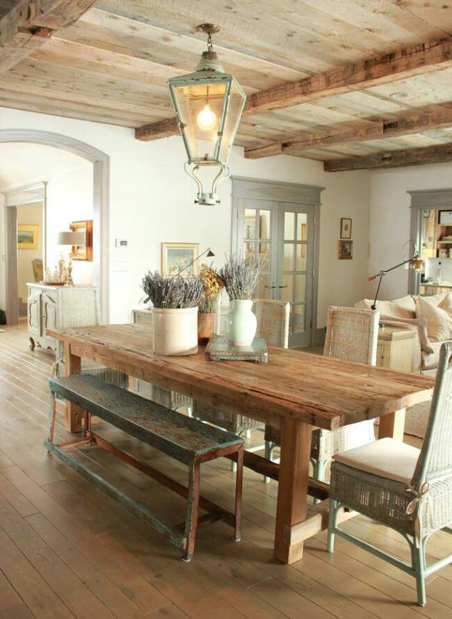 Love the kitchen table, everything actually.  Fa fodem Beautiful ceiling.