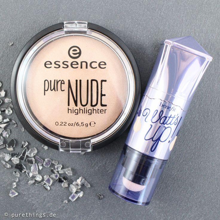 Highlighter Challenge, Drogerie vs. High End, Essence Pure Nude Highlighter vs. Benefit Watt's Up!