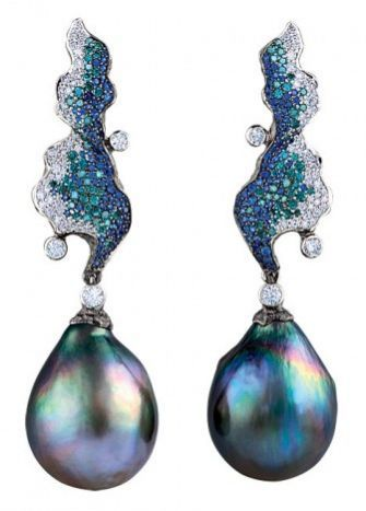 Серьги Jewellery Theatre sapphires and diamonds with Tahitian drop pearls