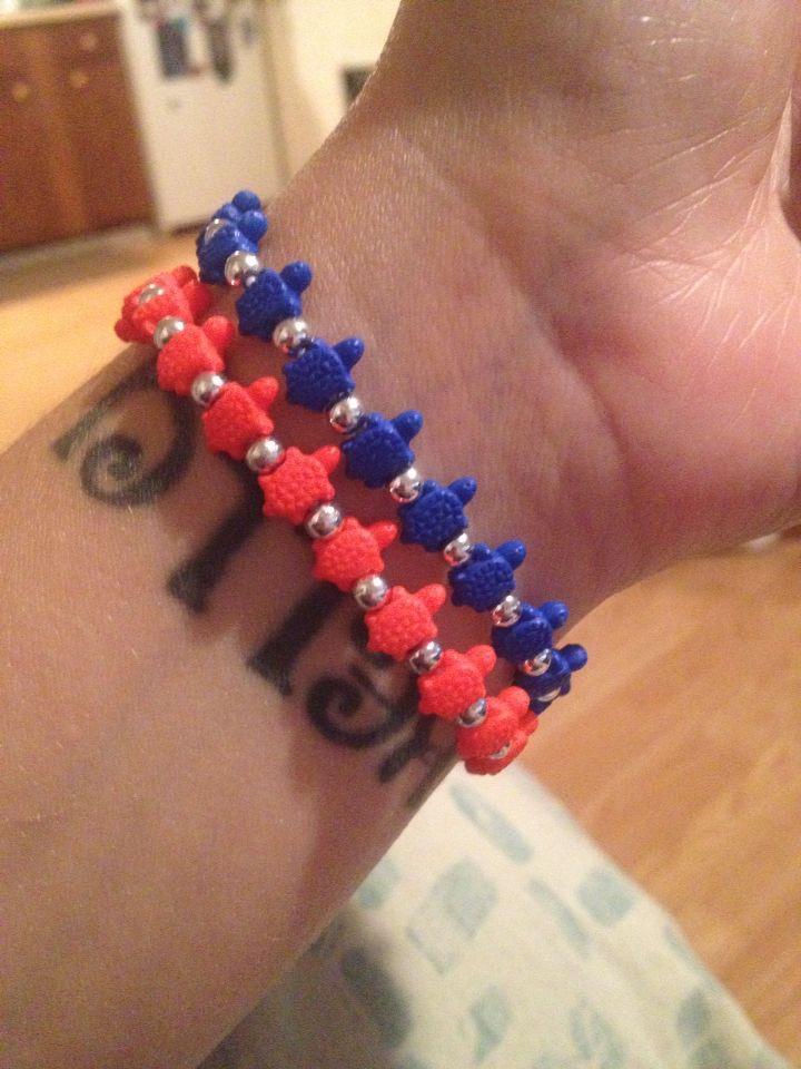 Trrtlz bracelets! Syracuse/Broncos colors :)