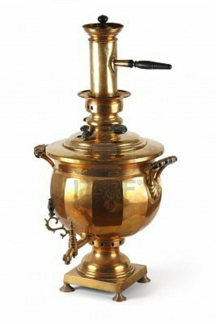 An Old Shiny Samovar The Traditional #russian Kitchen Utensil