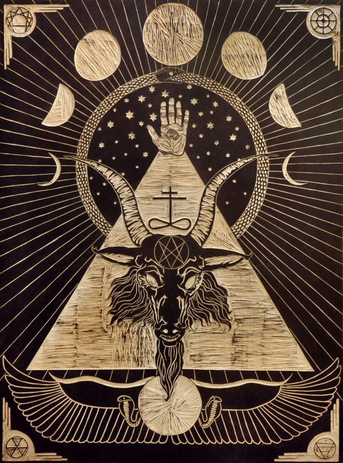 Baphomet woodblock by Jandro Montero and Tessa Harrison