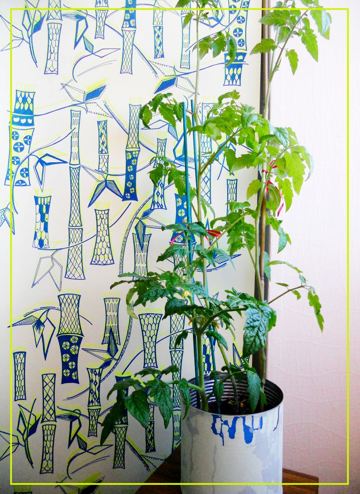 bamboo fluorescent wallpaper by justyna medon for RED POPPY HOME hand screen printed artisan wallpapers www.justynamedon.com