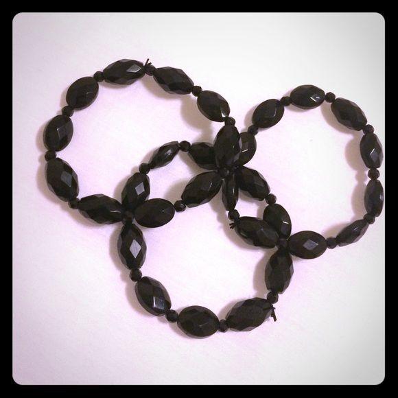 3 Black Bracelets NWOT Never worn, three black beady stretch bracelets. Come with box. Nordstrom Jewelry Bracelets