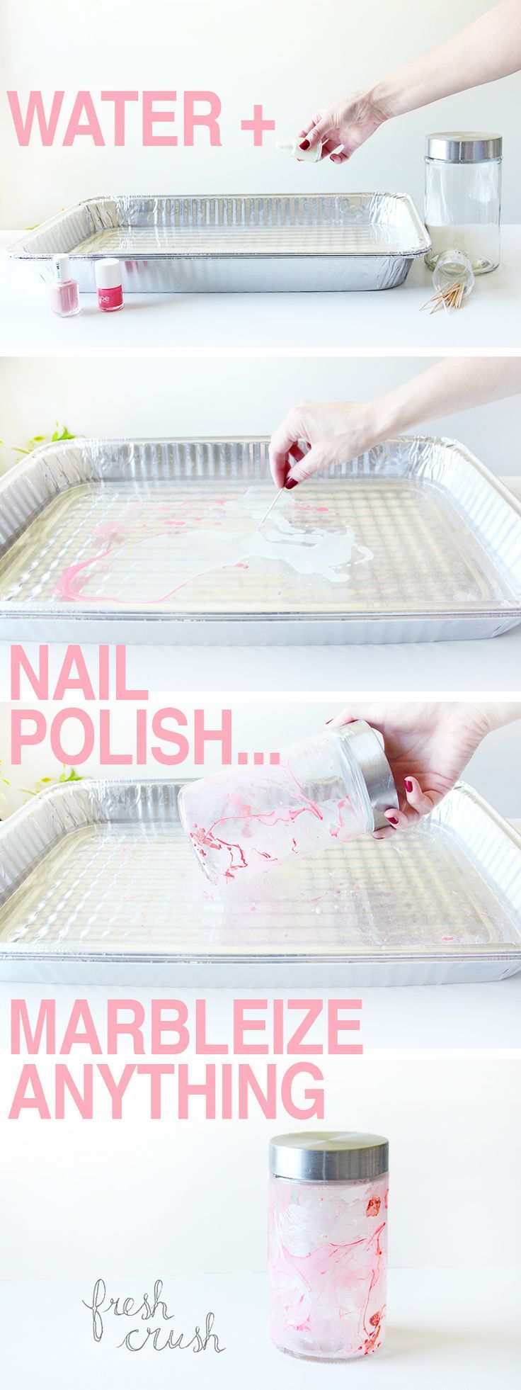 Put your old nail polishes to use with this FUN and EASY, faux marbling DIY technique! Cheap dollar store finds become high-style, chic, home decor in a few simple steps!