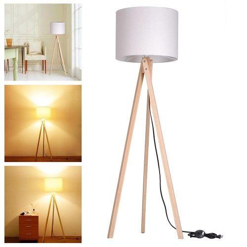 57.2 In. Wooden Tripod Floor Lamp Wood Original Color Beige Cotton Fabric Lighting Bar