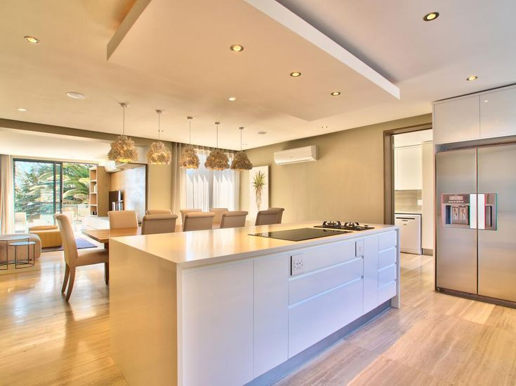 Drop Ceiling Adds Depth And Dimension In Neutral Contemporary Kitchen Kitchen Ceiling Design Dropped Ceiling Contemporary Kitchen