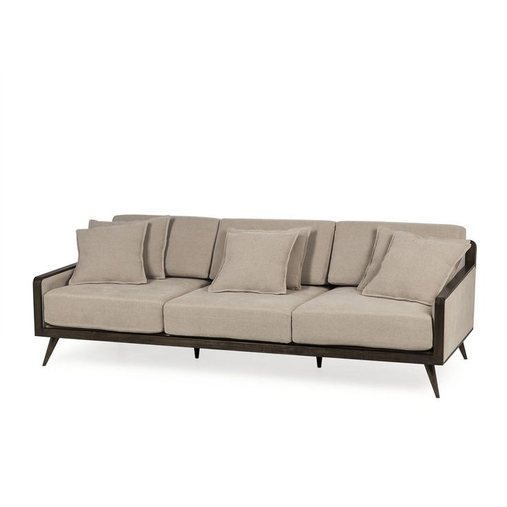 Contemporary Oversized Sofa With Soft Back U0026amp; Seat Cushions And Dark  Finish Wood Frame