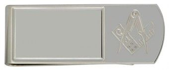 Sterling Silver Money Clip With Masonic Logo - £84.99