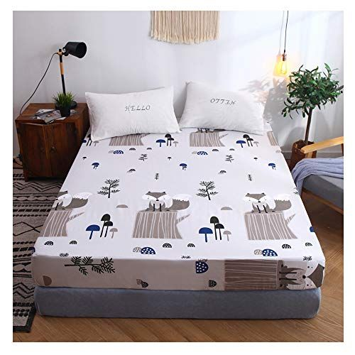Orihome Fitted Sheet Cartoon Cute Little Squirrel Printing Fitted