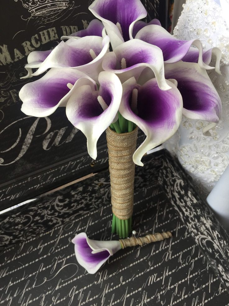 A personal favorite from my Etsy shop https://www.etsy.com/listing/206378614/white-purple-center-calla-lily-wedding