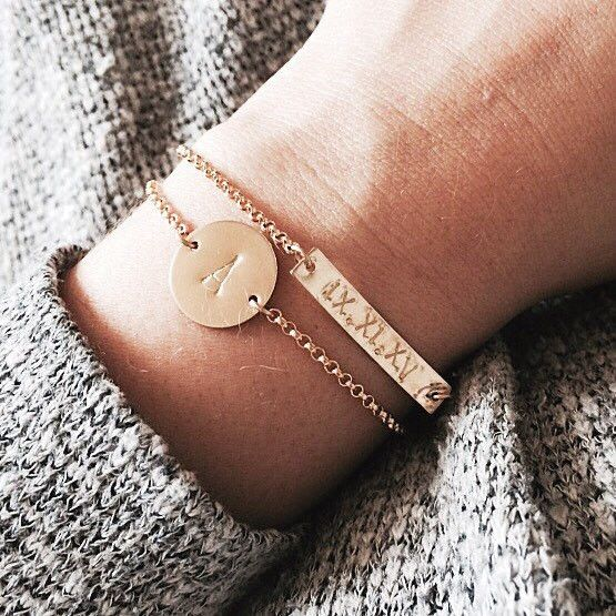 """1.25"""" Personalized Bar Bracelet - Z and our wedding date in Roman numerals would be so cute."""