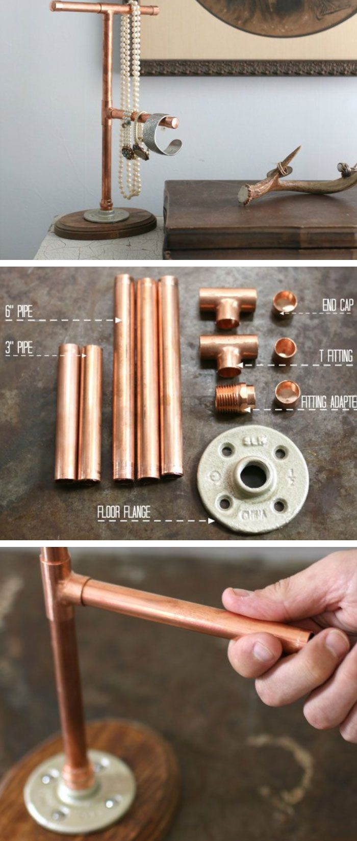 Copper Jewelry Display | DIY Home Decor Ideas on a Budget | DIY Home Decorating on a Budget