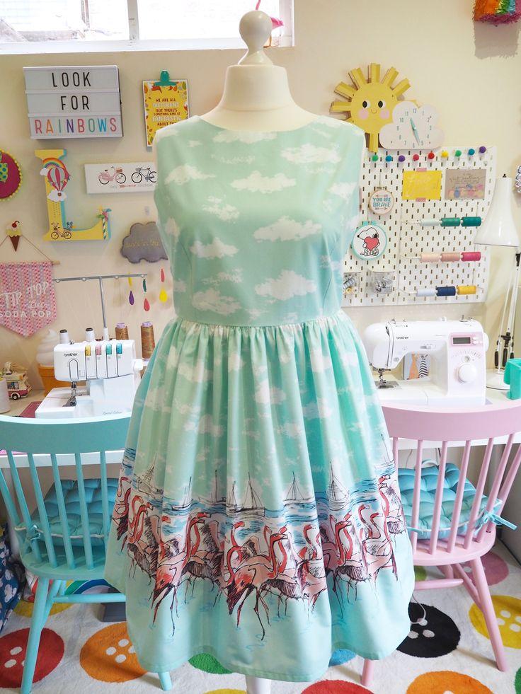 Made to Order Flamingo Border Print Dress - Ladies Handmade Dress