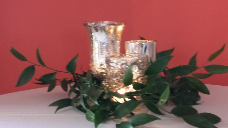 Mercury glass grouping with candles and a touch of greens