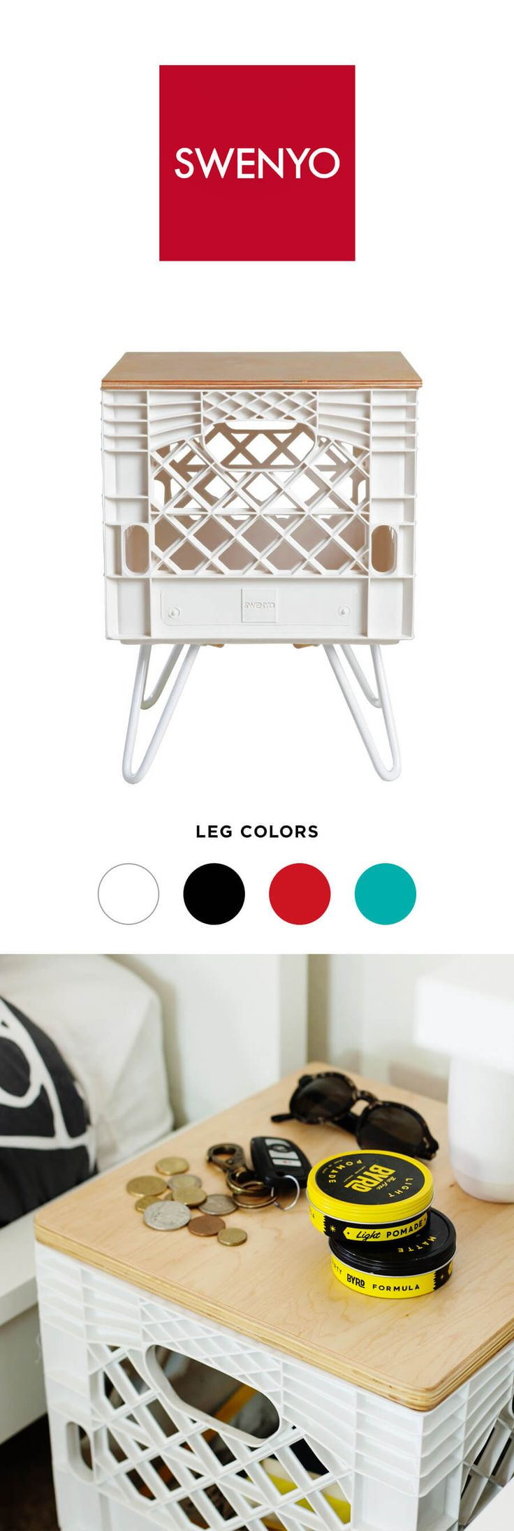 White Room Crate Nightstand by @swenyo. Choose from four different leg colors. #dormroom #office #homedecor #spon #swenyo