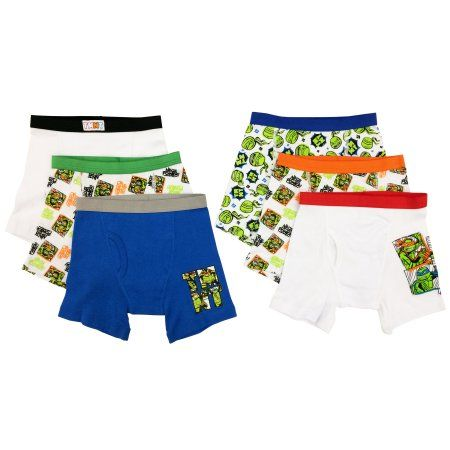 Teenage Mutant Ninja Turtles Boys Boxer Briefs, 5+1 Bonus Pack, Size: 4, Assorted