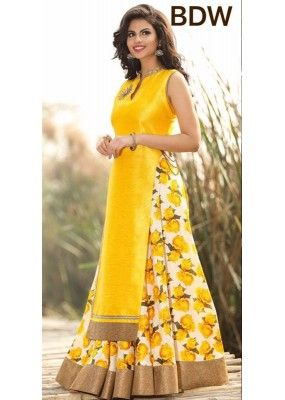 Bollywood Replica - Wedding Wear Floral Yellow One-Piece Gown - BWD220-4                                                                                                                                                                                 More