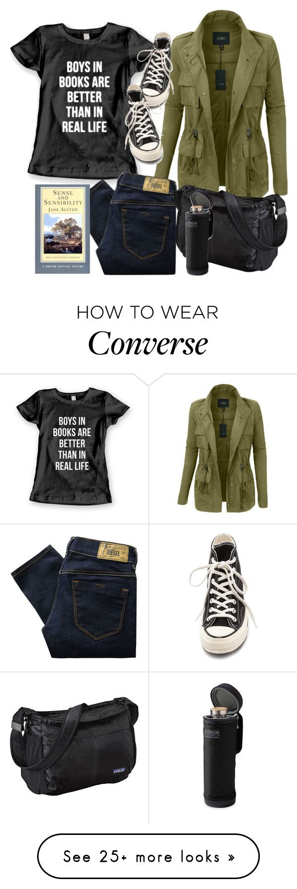 """boys in books"" by rochellechristine on Polyvore featuring LE3NO, Diesel, Converse and Patagonia"