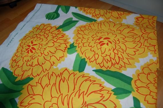Marimekko Yellow Orange Primavera, beatiful retro print by Maija Isola, 1 yard, Finland