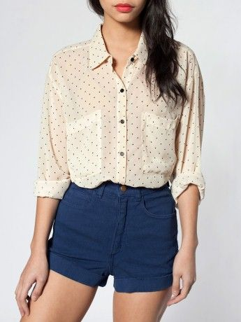 chiffon shirt and high waisted shorts… but the shorts should be a bit longer