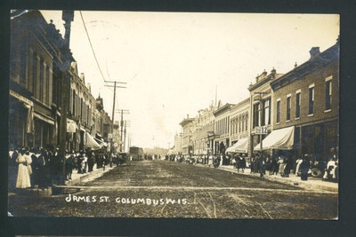 JAMES STREET COLUMBUS WISCONSIN REAL PHOTO POSTCARD 1910