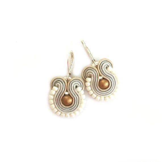 Soutache earrings - Dangle earrings - Glamour earrings - Neutral earrings - Beaded earrings - Christmas gift - Boucles d'oreilles - Gold