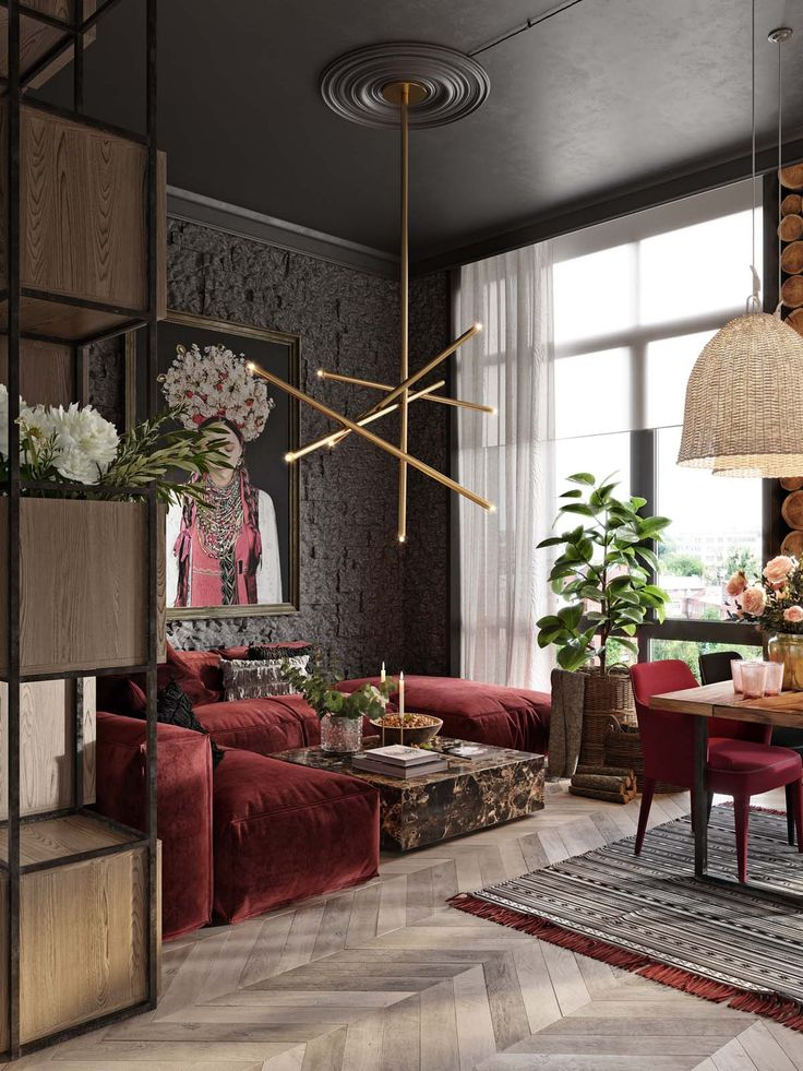 a plush red apartment with rustic accents